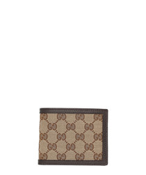Beige & brown tile canvas wallet