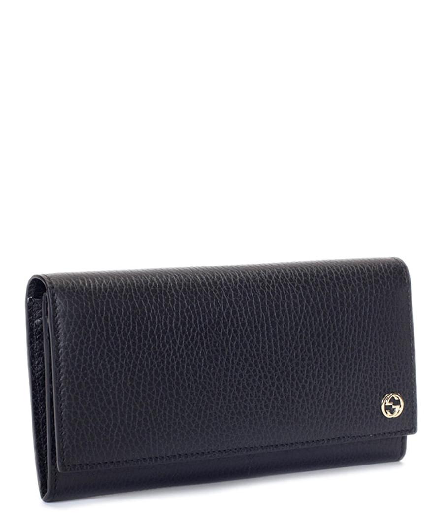 Black leather textured fold purse Sale - gucci