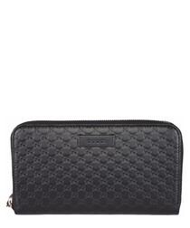 Guccissima zipped black leather purse