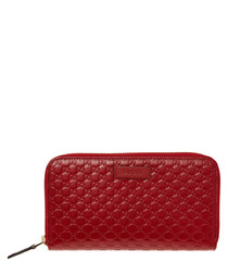 Guccissima red leather zip purse
