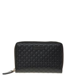 Guccissima black leather zip purse