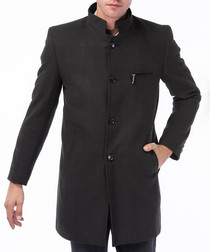Anthracite wool blend high-neck coat