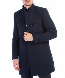 Dark navy wool blend high-neck coat