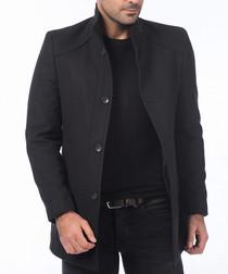 Black wool blend coat