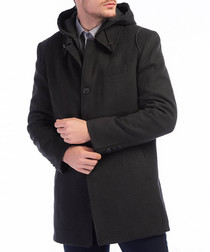 Anthracite wool blend hooded coat