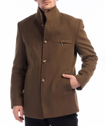 Camel wool blend zip-pocket coat