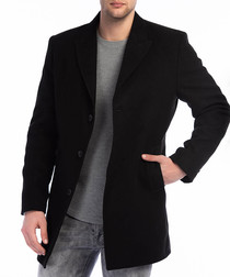 Black wool blend classic coat