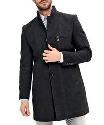Anthracite wool blend zip-pocket coat