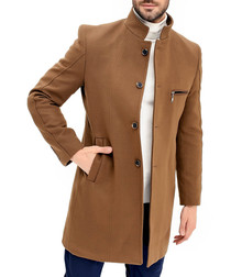 Camel wool blend zip-pocket coat