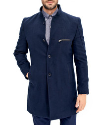 Navy wool blend zip-pocket coat