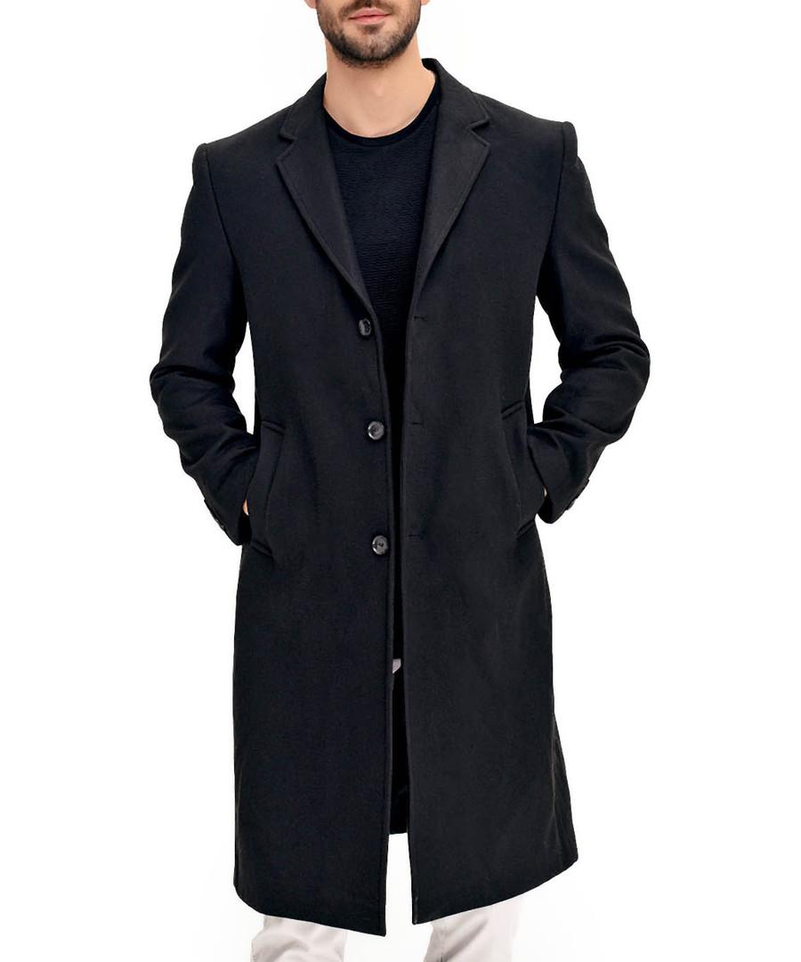 Black wool blend longline coat Sale - Dewberry