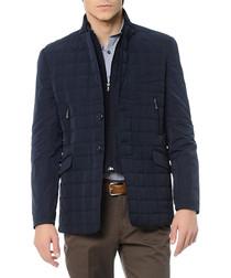 Navy quilted double-zip coat
