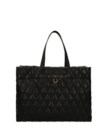 Duo Losange black quilted shopper