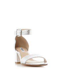 Jaygo silver-tone leather strap heels