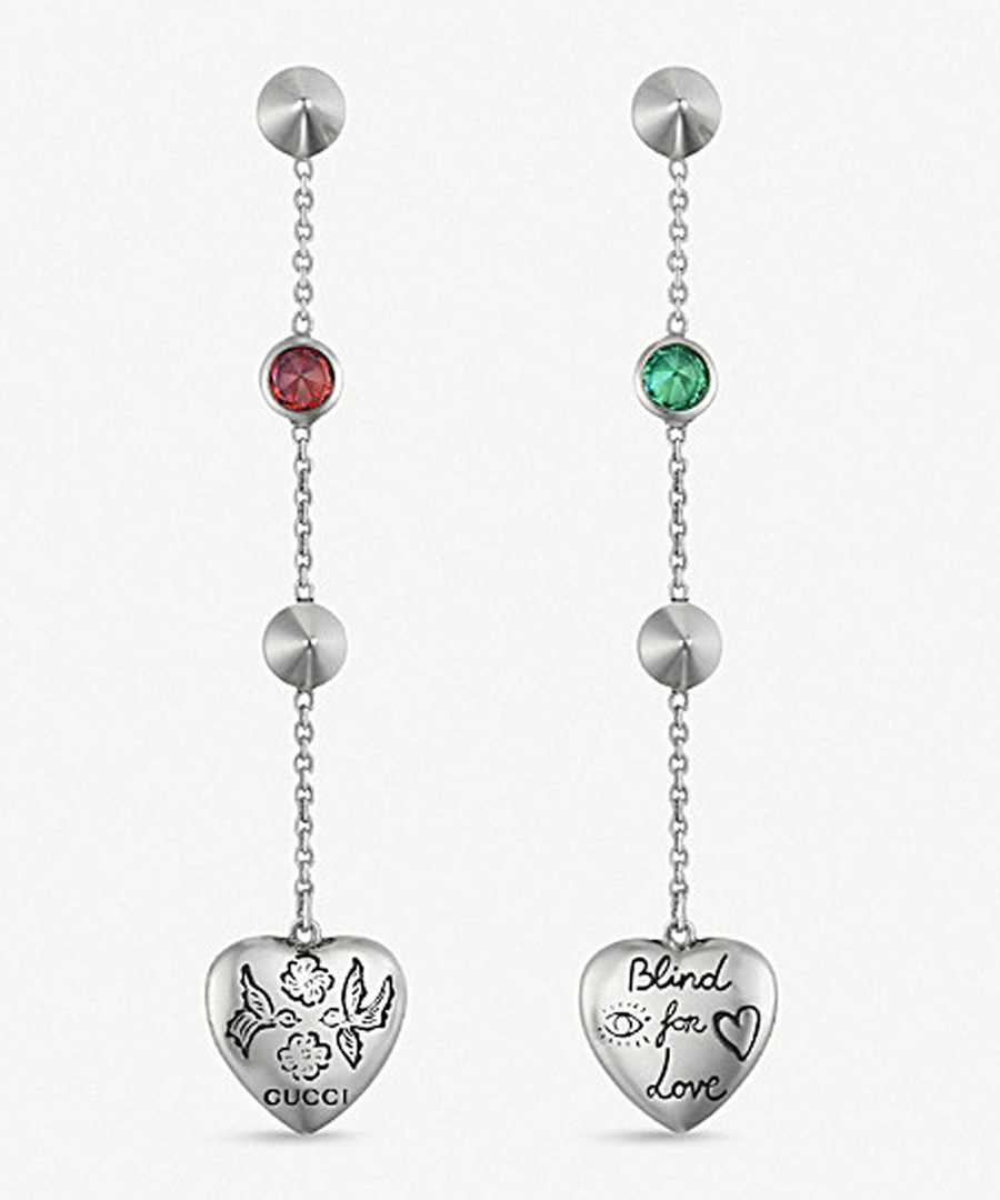 5f9a78166eb Sterling silver phrase heart earrings Sale - Gucci
