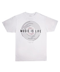 Music Is Life white pure cotton T-shirt