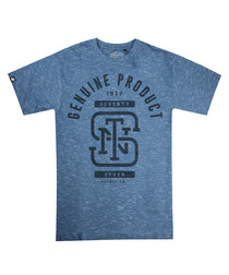 Monogram blue heather cotton T-shirt