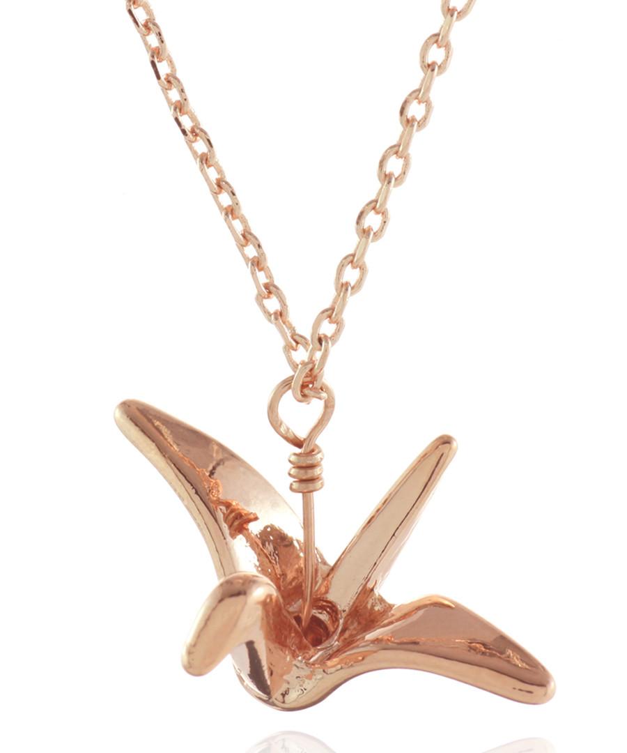 Rose gold-plated origami crane necklace Sale - fleur envy gaia