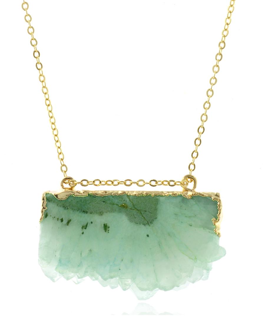 14k gold-plated lime quartz necklace Sale - fleur envy gaia