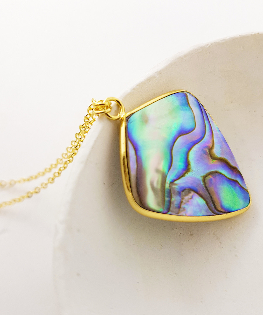 14k gold-plated abalone shell necklace Sale - fleur envy gaia