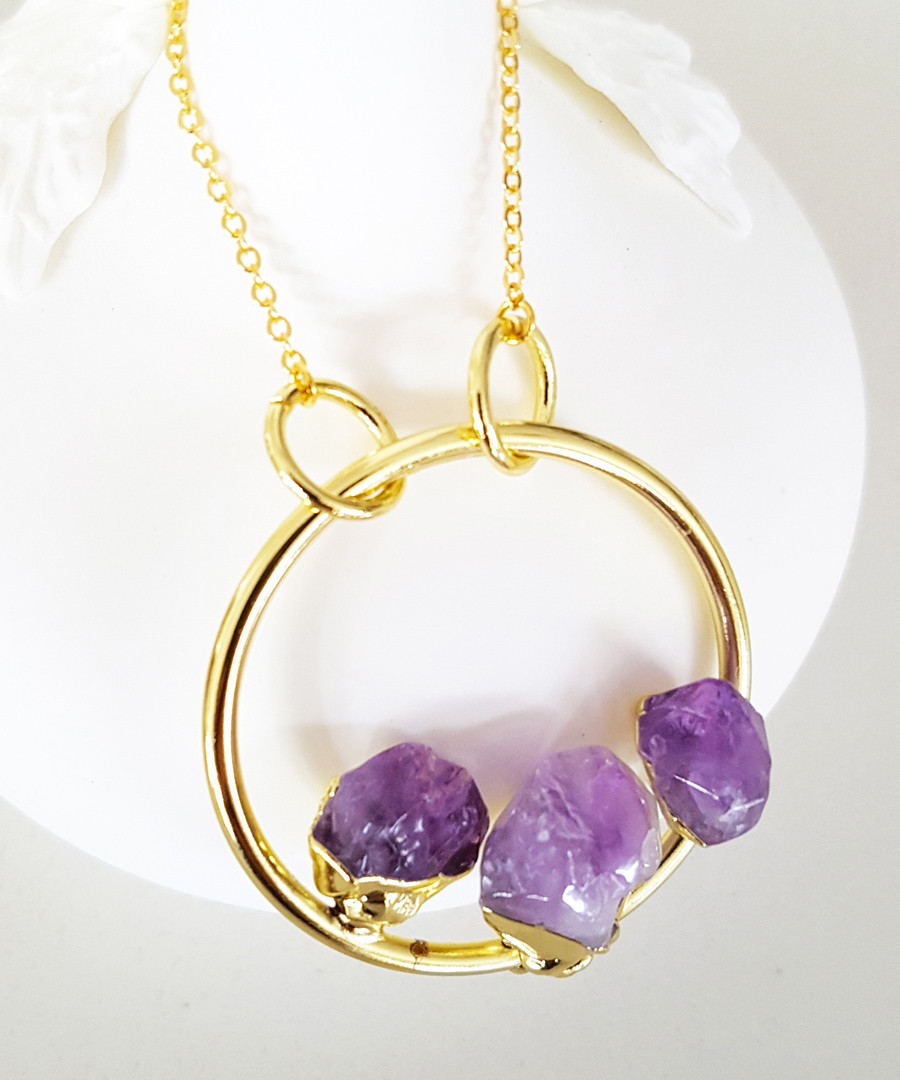 14k gold-plated amethyst necklace Sale - fleur envy