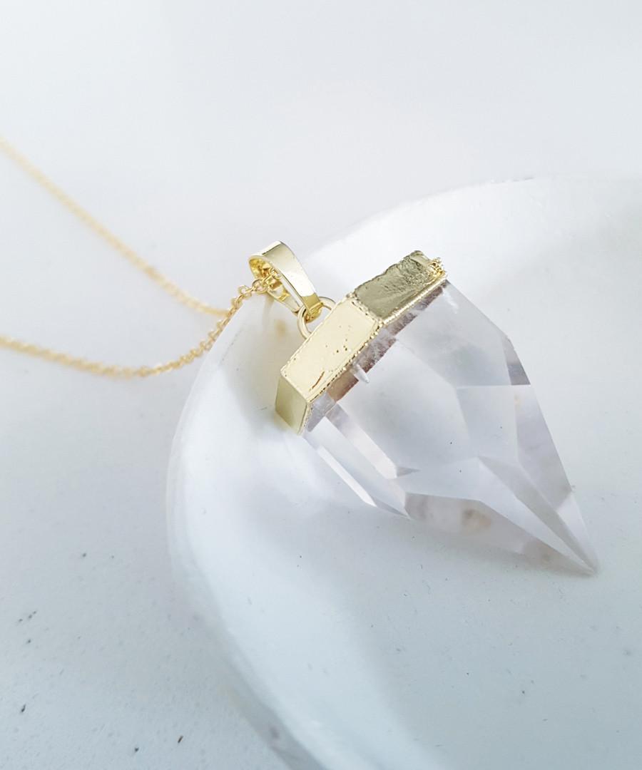 14k gold-plated clear quartz necklace Sale - fleur envy gaia