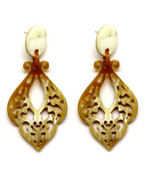 Brown & cream buffalo horn earrings