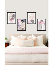 4pc Abstract Pinks framed prints