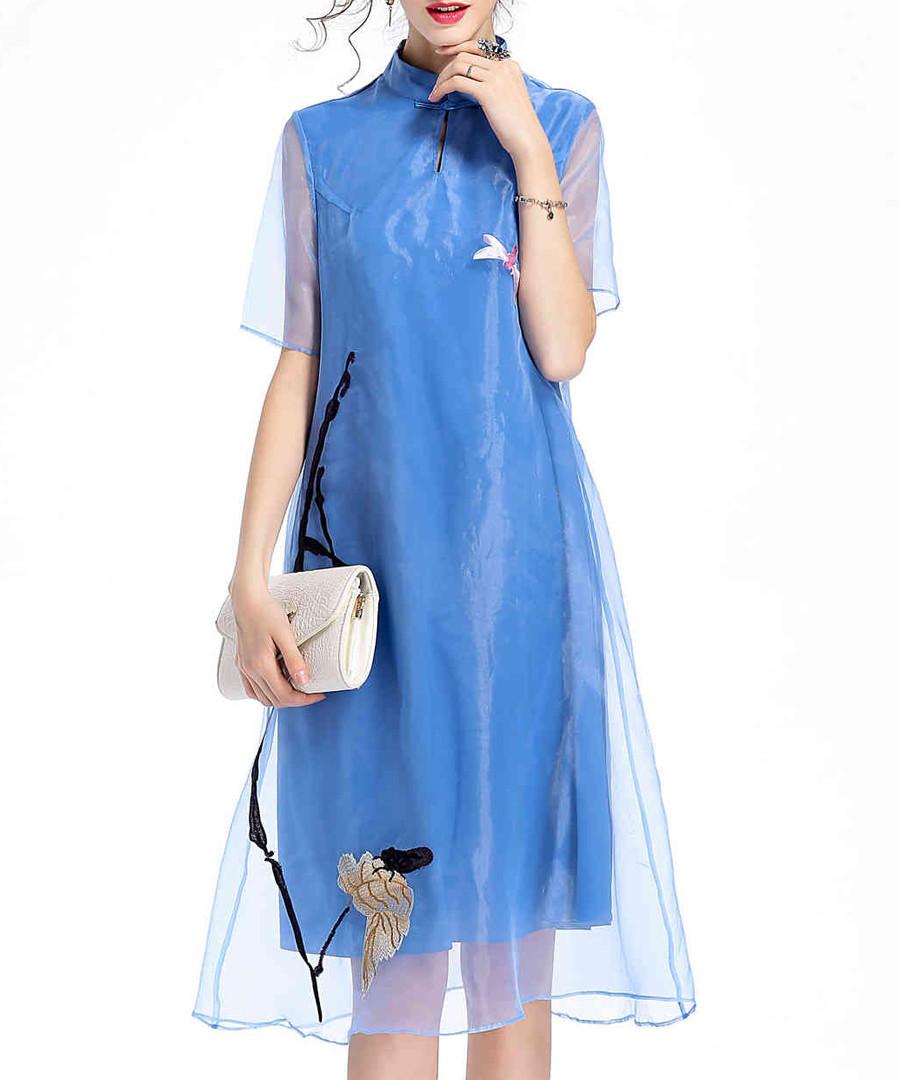 Sky blue sheer layer dress Sale - lanelle