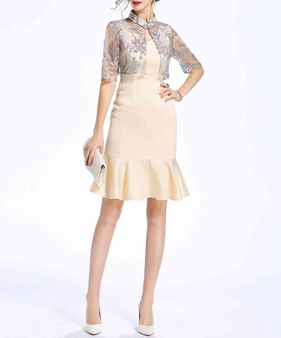 Beige cotton blend mini dress Sale - lanelle
