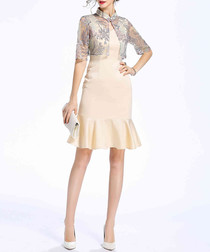 Beige cotton blend mini dress
