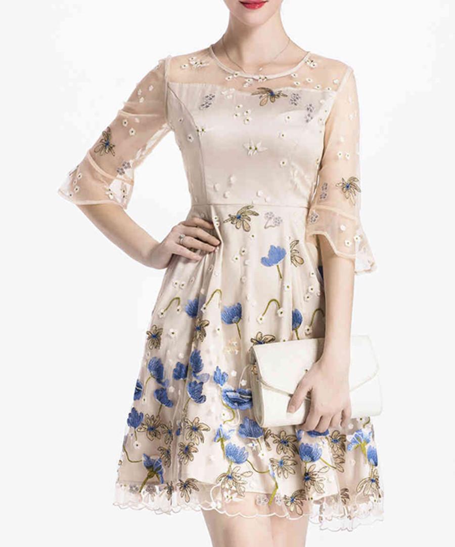 Beige & blue floral half sleeve dress Sale - lanelle