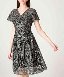 Grey brocade V-neck dress