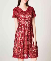 Wine brocade V-neck dress