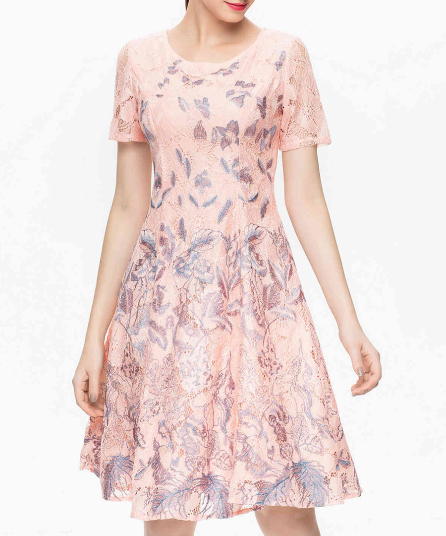 Rose butterfly round neck dress Sale - lanelle