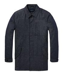 Blue coated denim trench coat