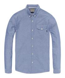 Blauw blue pure cotton shirt