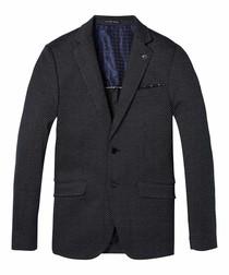 Black & navy pure cotton contrast blazer