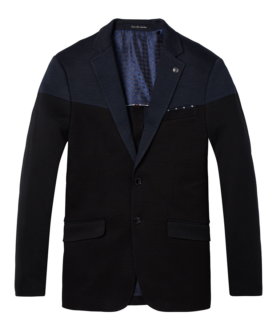 Navy cotton classic knitted blazer Sale - Scotch & Soda