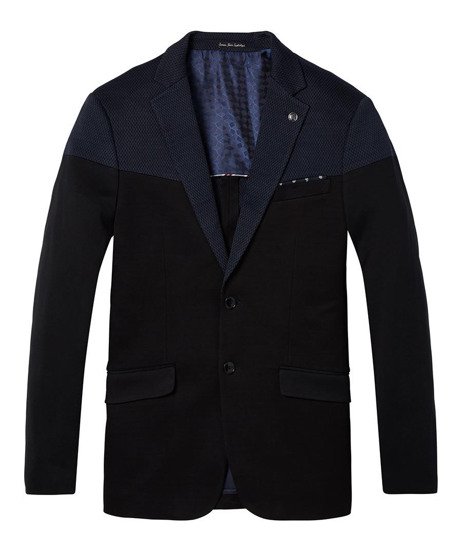 Navy cotton classic knitted blazer Sale - SCOTCH & SODA