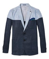 Blue linen herringbone contrast blazer