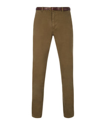 classic garment dyed chino pant in stretch cotton quality