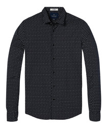 Midnight tile cotton long sleeve shirt