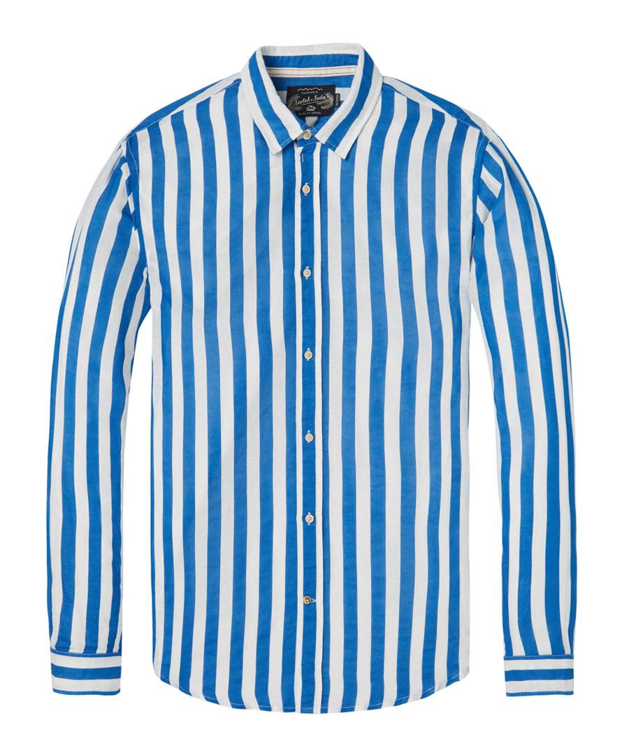 Blue & white band linen & cotton shirt Sale - scotch & soda