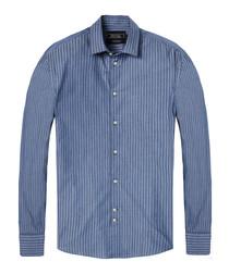 Navy stripe pure cotton shirt