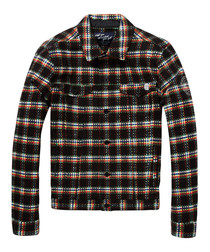 Multi-check pure cotton trucker jacket