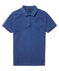 AMS Blauw blue pure cotton polo shirt