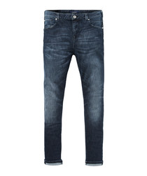 Dart dark wash cotton super skinny jeans