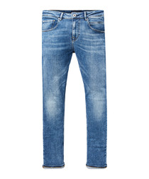 Dart mid wash cotton super skinny jeans