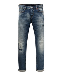 Skim mid wash cotton slim jeans